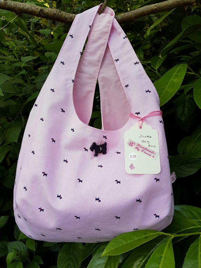 Children's Pale Pink Scottie Dog cotton Shoulder Bag