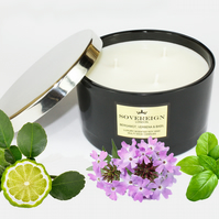 Triple 3 wick 410g Large Luxury Scented Soy Multiwick Candle with Bergamot