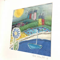 seaside gift, little houses and the sea, fabric art