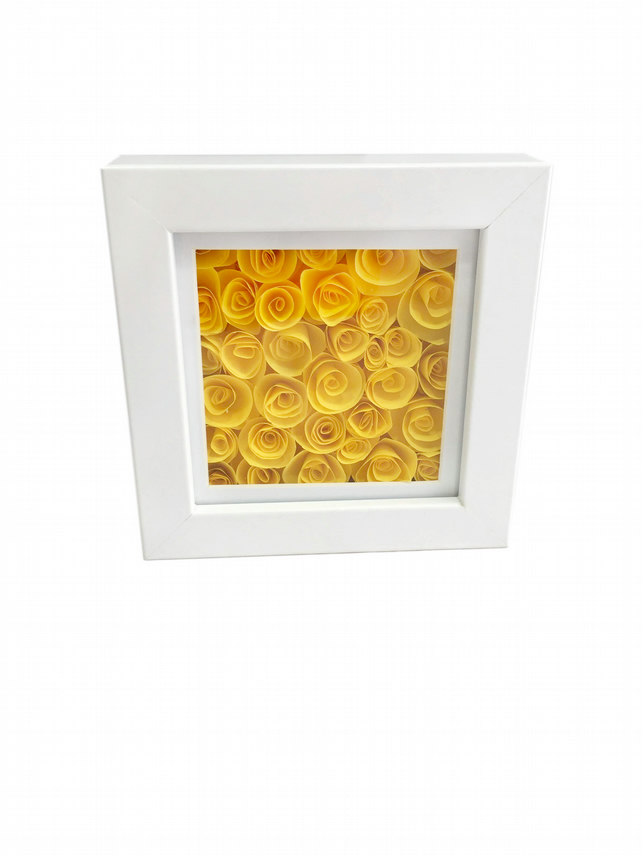 flower picture, paper flowers, yellow flowers, framed