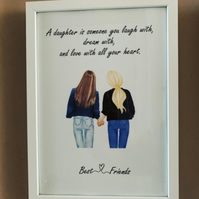 Mum and Daughter A4 Personalised frame