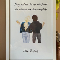 Girl & Boy A4 Personalised Frames