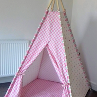 Children's Teepee Set - Teepee, poles, padded floor mat, READY TO SHIP