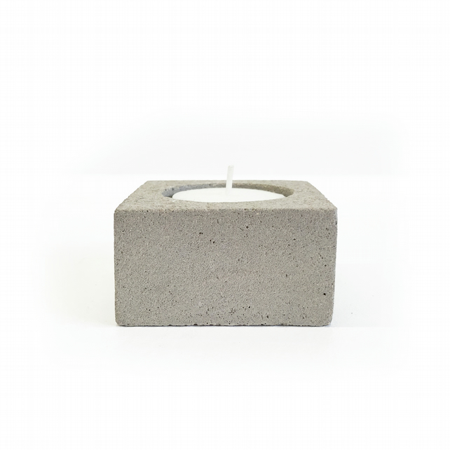 Handmade Concrete Tea-light Holder - Succulent Pot