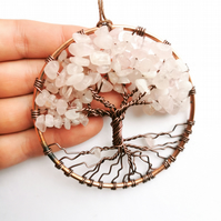 Rose quartz tree of life, crystal sun catcher,  wall hanging