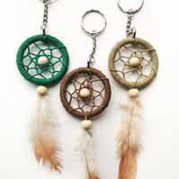 Dreamcatcher keyring with a corded hanger option, green selection of keychains