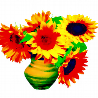 Colourful Sunflowers in a Vase Greeting Card