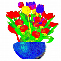 Watercolour, Tulips in a Vase, Greeting Card