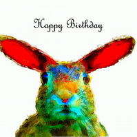 Hare, Happy Birthday Card
