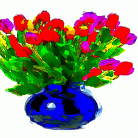 Bright, Colourful Tulips in a Vase Greeting Card