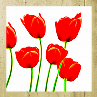 CLEARANCE - Bright Red Tulips Birthday Card