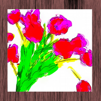 Pink Tulips Greeting Card, Vibrant Colour
