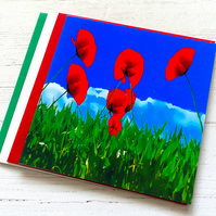 CLEARANCE -  Poppies in Green Grass, Birthday Card; Blank Inside