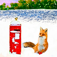 Fox in Snow Christmas Card