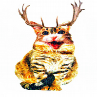 Happy Cat with Horns, Christmas Card