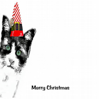 Is it Christmas Yet? - Cat Peeping through the Door, Christmas Card