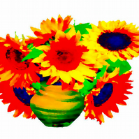Sunflowers in a Vase Greetings Card