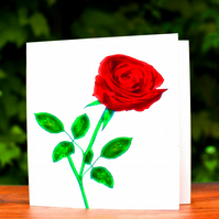 Red Rose, Birthday, Greeting Card
