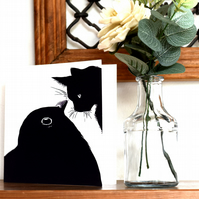Cat And Bird Greeting Card, Unusual