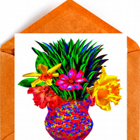 Flowers in a Beautiful Vase Birthday, Greeting Card