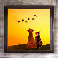 Giclée Print of a Dog and Cat Looking Towards the Sky