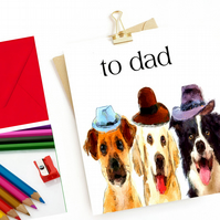Father's Day Card Three Dogs, Three Hats - FREE POSTAGE