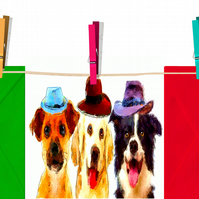 Three Dogs in Three Hats Birthday, or Greeting Card