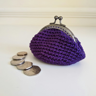 Vintage Style Coin Purse with Kiss Lock Clasp in Dark Purple