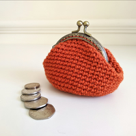 Vintage Style Coin Purse with Kiss Lock Clasp in Orange