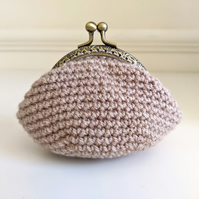 Coin Purse Beige Kiss Lock Clasp Lined