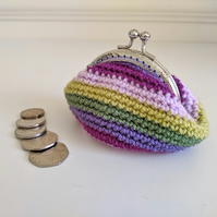 Vintage Style Coin Purse Purple Green Pink Striped Kiss Lock Clasp