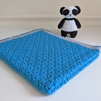 Super Soft Baby Blanket in Blue with Grey Border - stroller size