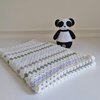Granny Striped Baby Blanket in Blue, Grey and Green - stroller size