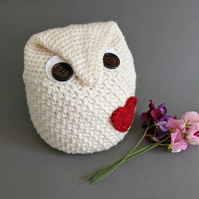 Owl-Shaped Doorstop - Cream with Red Heart - Made to Order