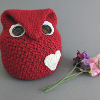 Owl-Shaped Doorstop - Red with Cream Heart