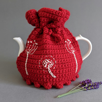 Red Embroidered Teapot Tea Cosy - Scandi Style