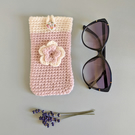 Pale Pink & Cream Sunglasses Glasses Case with flower