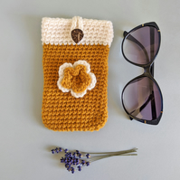 Mustard & Cream Sunglasses Glasses Case with flower