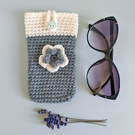 Sage Green & Cream Sunglasses Glasses Case with flower
