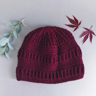 Dark Red Textured Beanie Hat for Man or Woman