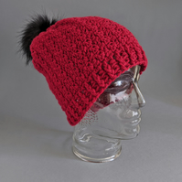 Slouchy Beanie Hat in Cherry Red with Faux Fur Pom Pom