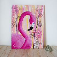 Beautiful pink abstract tropical flamingo acrylic painting on canvas board