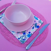 Pretty floral print wooden placemat
