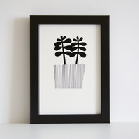 A5 Little Jade Succulent Giclee Print - Printed in Black
