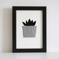A5 Little Jewel Succulent Giclee Print - Printed in Black