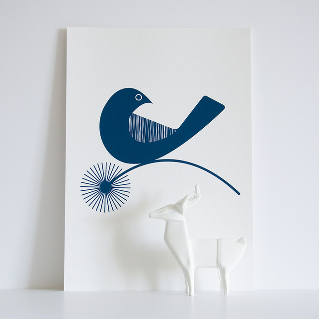 A4 Little Blue Bird in Petrol Blue - Open Edition Giclee Print