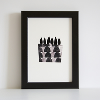 A5 Little Succulent Giclee Print - Printed in Black