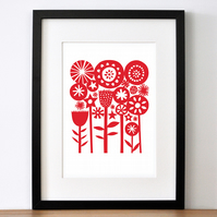 A4 Red Summer Garden - Signed Open Edition Giclee Print