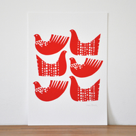 Bird Shapes in Red - Signed Open Edition Giclee Print