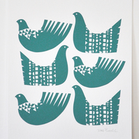 Bird Shapes in Dark Teal - Signed Open Edition Giclee Print